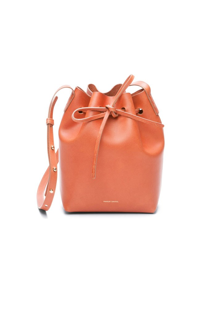 "<a href=""http://www.mansurgavriel.com/products/mini-bucket-bag-brandy/raw"">Bag, approx. $596, Mansur Gavriel</a>"