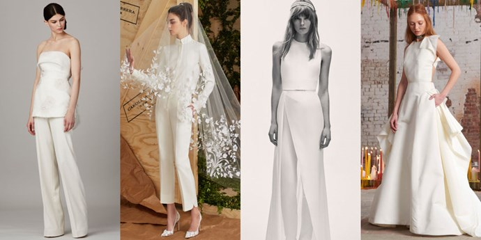 "</p><p><b>Capricorn</b><br><br> Capricorn is an Earth sign who wants to make a good investment in a well made, quality dress. This is a sign that can do well with structure and architectural designs. Sculptural, angular dresses suit this sign–they look amazing in jumpsuits and pantsuits. This sign is known for their efficiency and their focus on the goal. Their sign is the mountain goat, which does whatever it needs to do to get to the top of the mountain. This is a goal oriented sign and their style tends to be clean and sharp. This bride isn't so into lace, sheerness and ambiguity. Signs that are mutable, like Gemini, Virgo, Sagittarius and Pisces love movement in their clothes and things that are shape-shifting. But, Capricorns want the structure of what they're wearing to remain intact throughout the night. There is a professional yet chic aspect to them. They don't want to spend forever picking out the dress, but they want it to be amazing quality nonetheless.<br><br> From left: <a href=""https://www.lelarose.com/"">Lela Rose</a> Bridal Spring 2017; <a href=""http://www.carolinaherrera.com/"">Carolina Herrera</a> Bridal Spring 2017; <a href=""http://www.eliesaab.com/"">Elie Saab</a> Bridal Spring 2017; <a href=""http://www.rosieassoulin.com/"">Rosie Assoulin</a> Fall 2016."