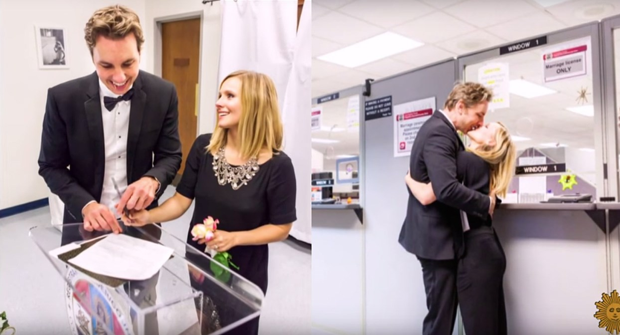 Kristen Bell shared these shots of her 2013 courthouse wedding to Dax Shepard, where she wore black pants and a black shirt with a silver necklace.