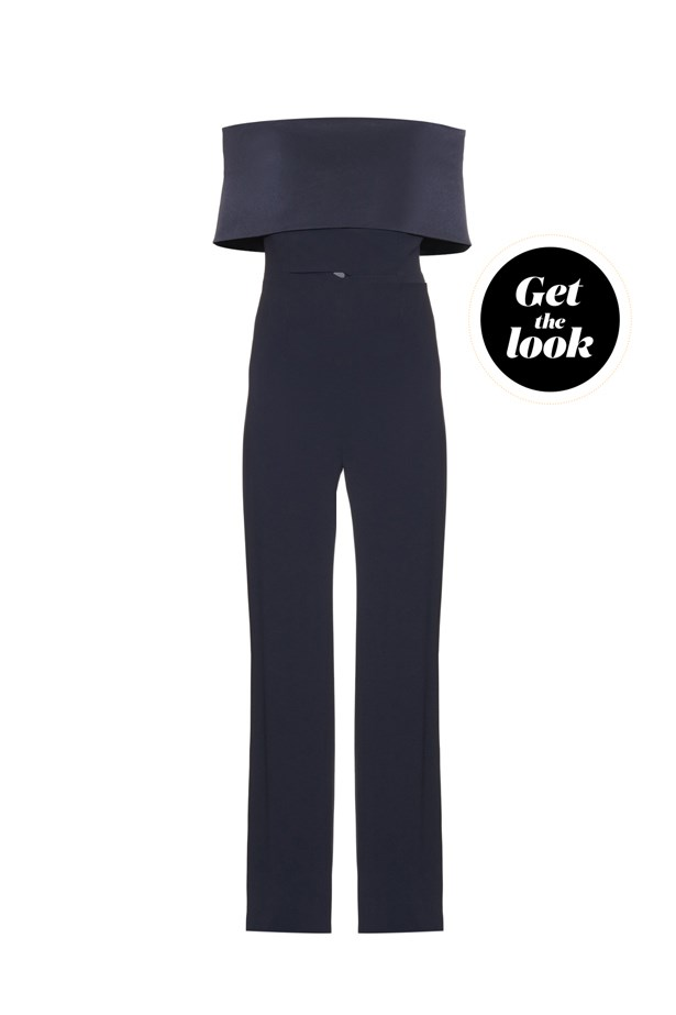 "Jumpsuit, $1,707, Galvan at <a href=""http://www.matchesfashion.com/products/Galvan-Off-the-shoulder-crepe-jumpsuit-1046417"">matchesfashion.com</a>."