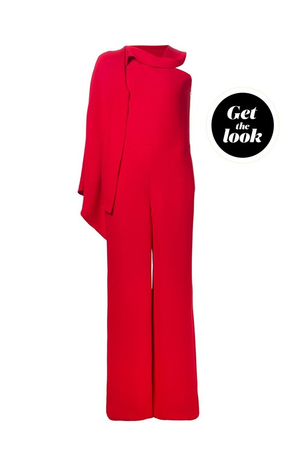 "Jumpsuit, Valentino at <a href=""https://www.lyst.com.au/clothing/valentino-one-shoulder-jumpsuit-red-2/"">lyst.com</a>."