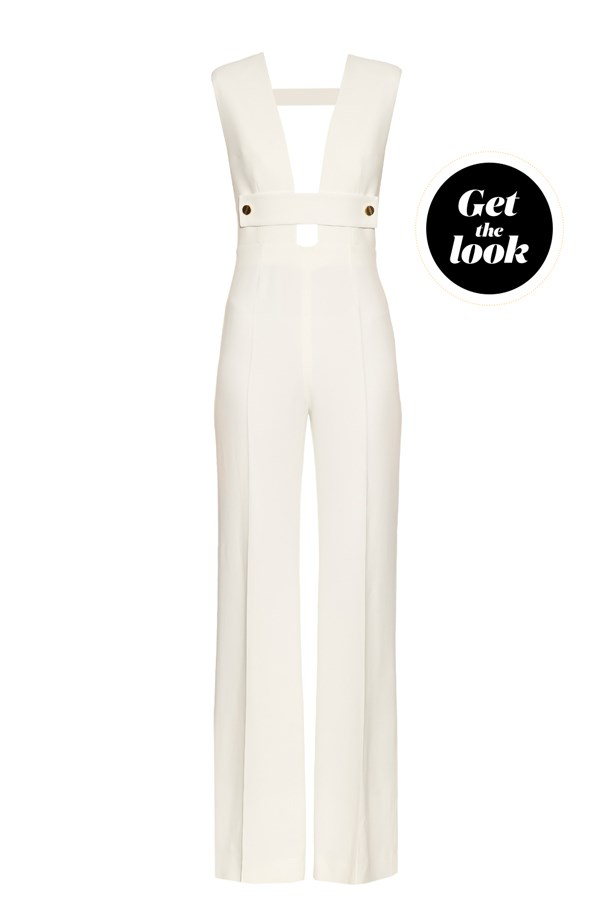 "Jumpsuit, $1,373, La Mania at <a href=""http://www.matchesfashion.com/products/La-Mania-Todavis-plunging-V-neck-cady-jumpsuit-1059662"">matchesfashion.com</a>."