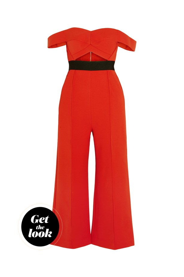 "Jumpsuit, $491, Self-Portrait at <a href=""https://www.net-a-porter.com/au/en/product/714110?cm_mmc=ProductSearchPLA-_-AU-_-Clothing-_-Jumpsuits-Google&gclid=Cj0KEQjwt-G8BRDktsvwpPTn1PkBEiQA-MRsBXaSaqauOjFx8sQLAf25TVU-C2kUsl1qbW-Q4e3Jtg4aAqH-8P8HAQ"">net-a-porter.com</a>."