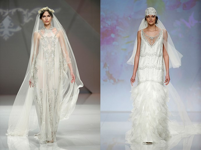 <P> THE ROARING 20s<P> <P> Give your dress a vintage twist with '20s inspired styling. Add a long capped veil to your flowing gown and pair it with some sparkles.<p> <p> M&M (l), Rembo Styling (r).