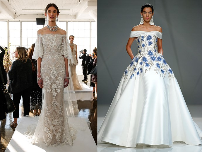 <P> COLD SHOULDER<p> <p> Baring the shoulders gives your look an updated, yet still classic, look. This trend works across all skirt styles, from full skirts, to columns. <p> <p> Marchesa (l), Naeem Khan (r).