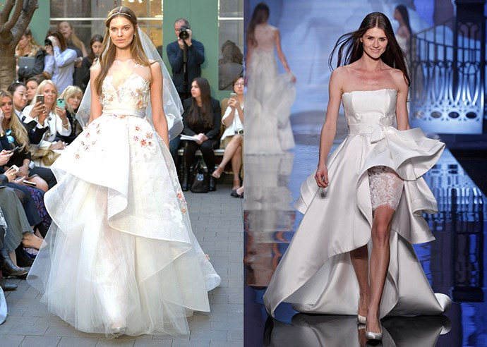 <P> CHASING WATERFALLS<p> <p> If straight skirts aren't your thing, go for a waterfall hem. You can either lift up the front to expose the legs for a sexier take or simply show off the under-skirting. <p> <p> Monique L'Huillier (l), Antonia Riva (r).
