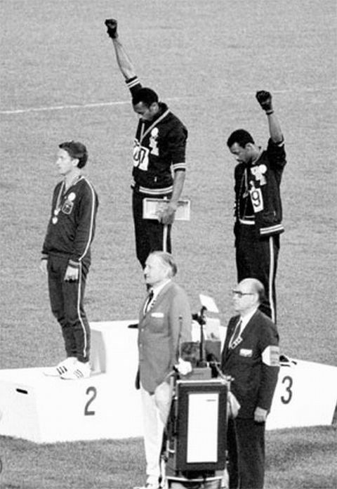 <P> <strong>1968, MEXICO CITY: THE BLACK POWER SALUTE</strong><p> <p> During the medal ceremony for the 200-meter race, American athletes John Carlos and Tommie Smith wore black gloves and made the gesture to mimic the Black Power salute. (Their shoeless, socked feet was to represent black poverty.) It was quite the political statement about civil rights, and one that got them kicked out of the games by the IOC chair. (Little known fact: the silver medalist, Australian Peter Norman,  may look like he's not participating, but he's actually making a very big statement too by wearing a human rights badge on his uniform. Thirty-eight years later when Norman died, both Carlos and Smith were pallbearers at his funeral.)