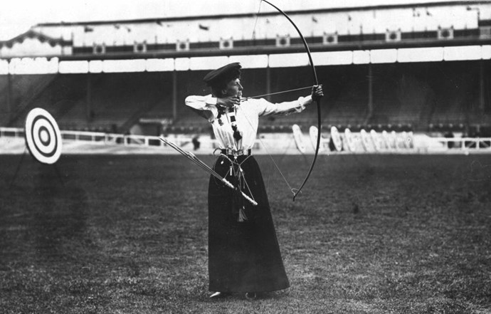 <p> <strong>1908</strong><p> <p> The winner of the Ladies' National Round Archery at the London Olympic Games, Miss Queenie Newall.