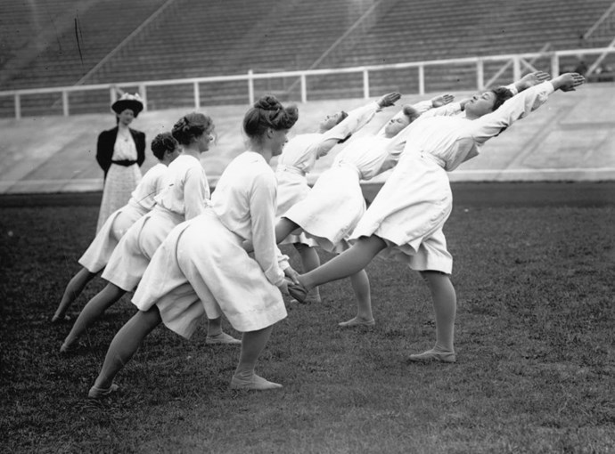 <p> <strong>1908</strong><p> <p> Danish gymnasts practicing for the London Olympics.