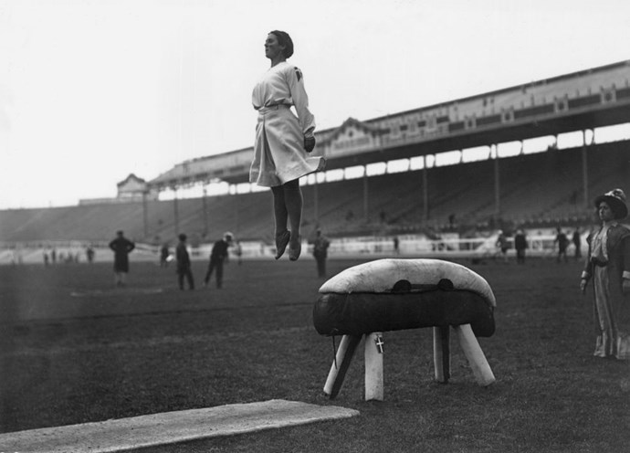 <p> <strong>1908</strong><p> <p> A Danish gymnast flying off the pommel horse during practice in London.
