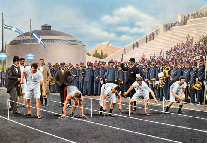 <p> <strong>1936</strong><p> <p> On your mark, get set, go: The 100 meters sprint race at the game in Athens.  Comfortable sportswear is now de rigueur for both female and male track and field athletes, seen here in loose shorts and fitted vests.  Jersey cotton and silk tops and trousers, tracksuits, and off-duty sports blazers become the norm, a departure from the hot wool suits that athletes wore in prior decades.