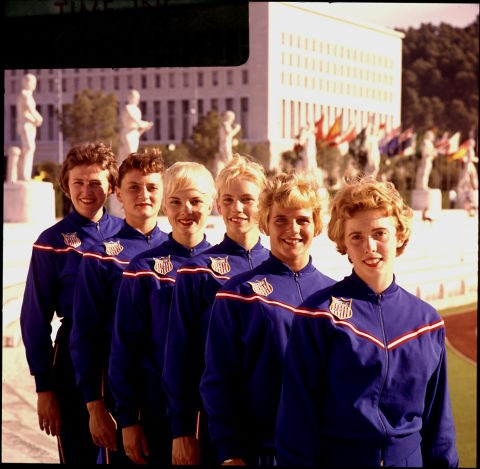 <p> <strong>1960</strong><p> <p> U.S. athletes at the Summer Olympics in 1960. The '60s sees the rise of coordinated tracksuits for men and women.