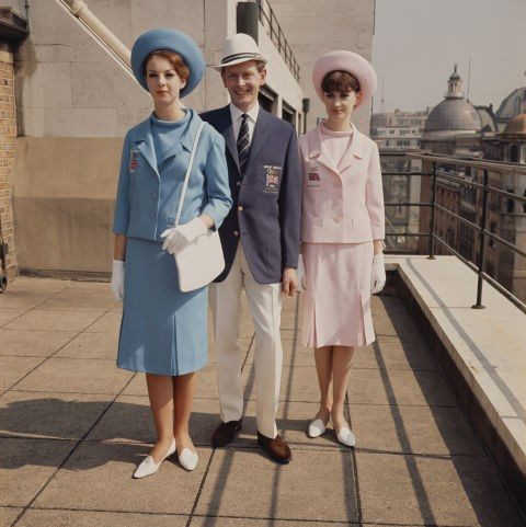 <p> <strong>1964</strong><p> <p> Models wearing the Great Britain team uniform for the 1964 Tokyo Summer Olympics. Dashing!