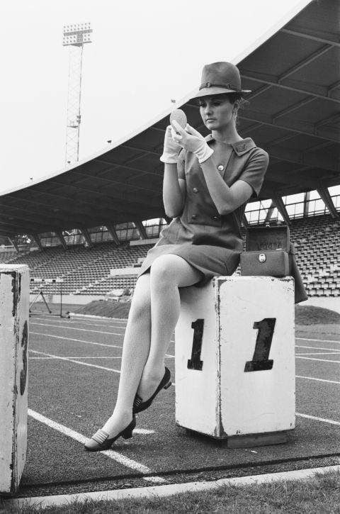 <p> <strong>1968</strong><p> <p> A model wearing the uniform designed by Hardy Amies for British athletes to wear in Mexico City. Since the '40s, designers have been queuing up to design the uniforms for athletes at the Olympics.