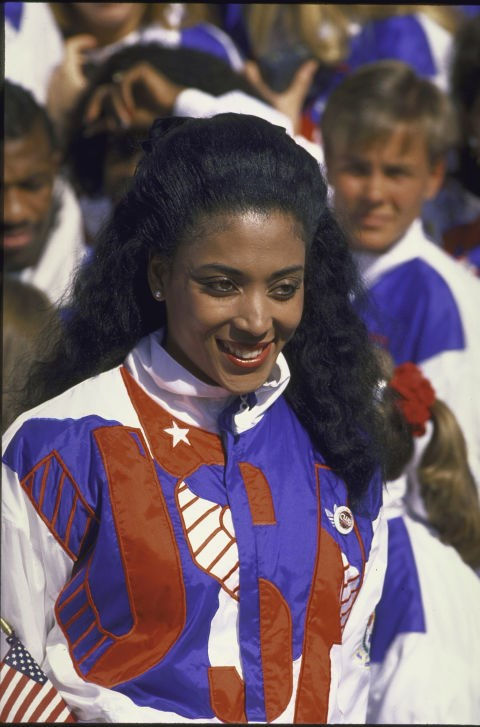 <p> <strong>1988</strong><p> <p> U.S. track star Florence Griffith Joyner with the national team in 1988.