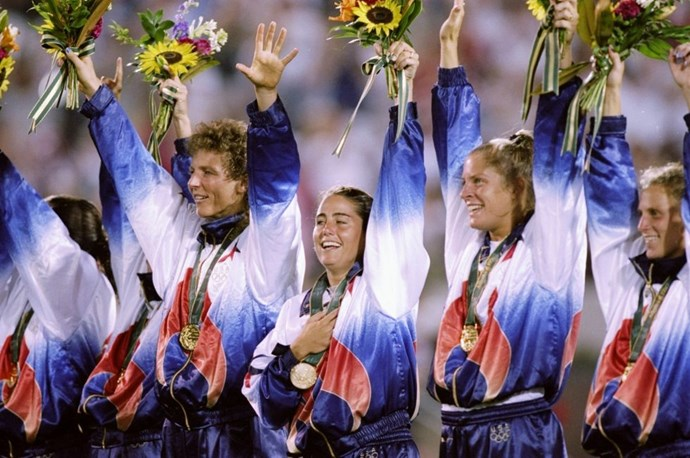 <p> <strong>1996</strong><p> <p> The U.S. women's soccer team rocking tie-dye jerseys while they celebrate a win over China at the games in Georgia.