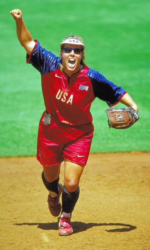 <p> <strong>2000</strong><p> <p> Dot Richardson of the U.S. celebrates during a preliminary match against Japan at the Sydney Olympics.