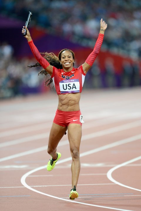 "<p> <strong>2012</strong><p> <p> American sprinter Sonya Richards-Ross celebrating a win at the 4x400 meter relay final in London. Companies are still promoting the latest in aerodynamic technology, while designers are pushing to collaborate with sportswear brands on fashionable and practical gear. The London Games stoke a reputation for being ""The Fashion Games""."