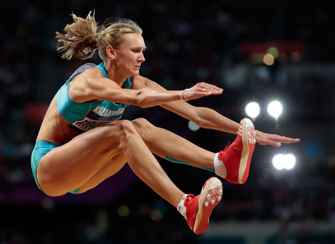 <p> 2012<p> <p> Olga Rypakova of Kazakhstan competing in the triple jump final in London.