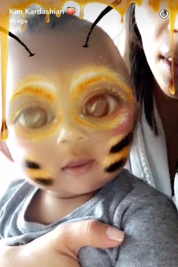 Saint West in Bee Filter on Kim Kardashian Snapchat