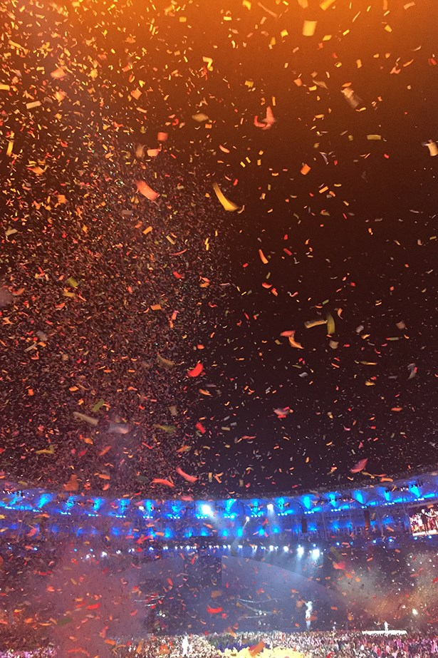 With the pulsating beat of drums and Carnival dancers wiggling the Samba, the Games officially open with a lighting of the flame and a cascading sea of confetti.
