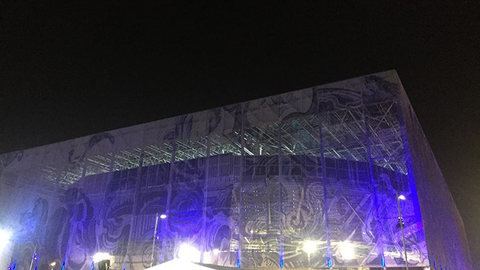 The exterior of the pool stadium, which will likely witness a few more Australian anthems before the Games are over.