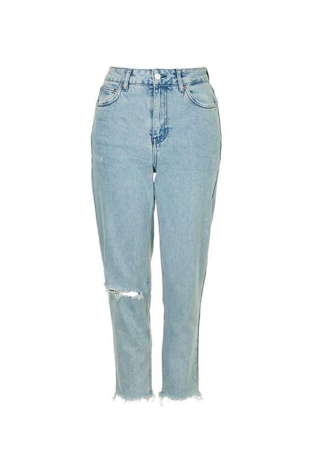 "Jeans, $58, <a href=""http://www.topshop.com/en/tsuk/product/clothing-427/jeans-446/moto-bleach-mom-jeans-5722082?bi=40&ps=20"">Topshop</a>."