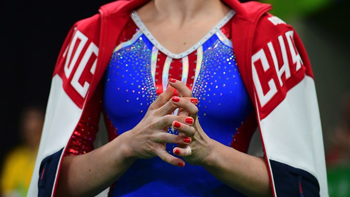 <strong>Daria Spiridonova, artistic gymnastics, Russia</strong><br> Glossy routines call for a matching glossy colour.