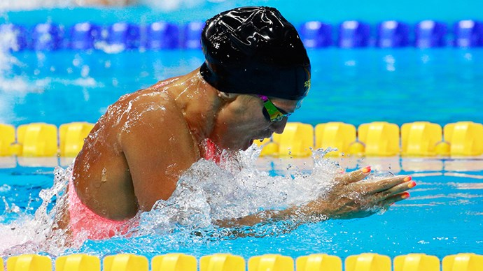 <strong> Yulia Efimova, swimming, Russia</strong><br> Efimova's matching neon brights were hard to miss.