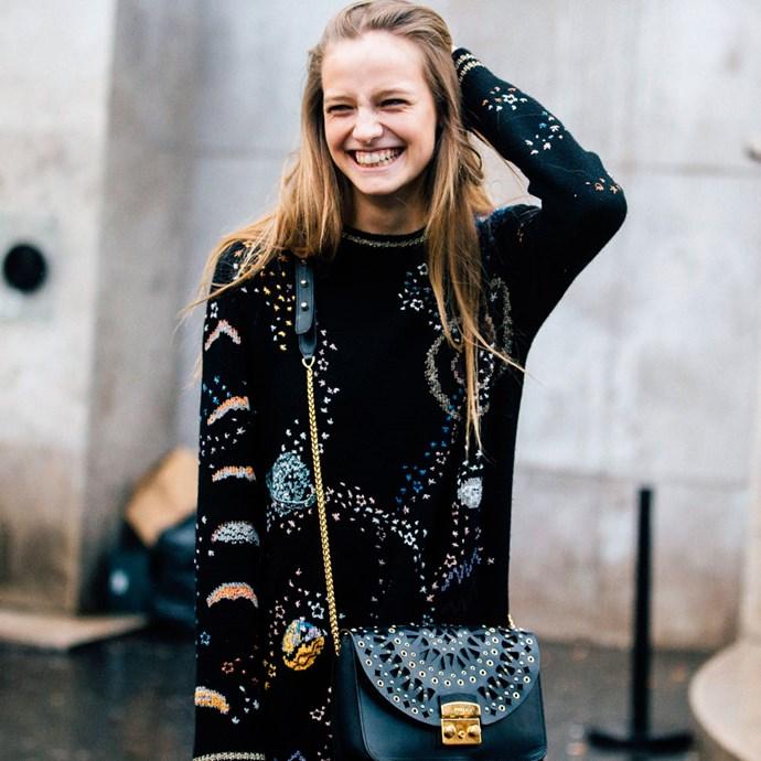 street style girl smiling furla bag