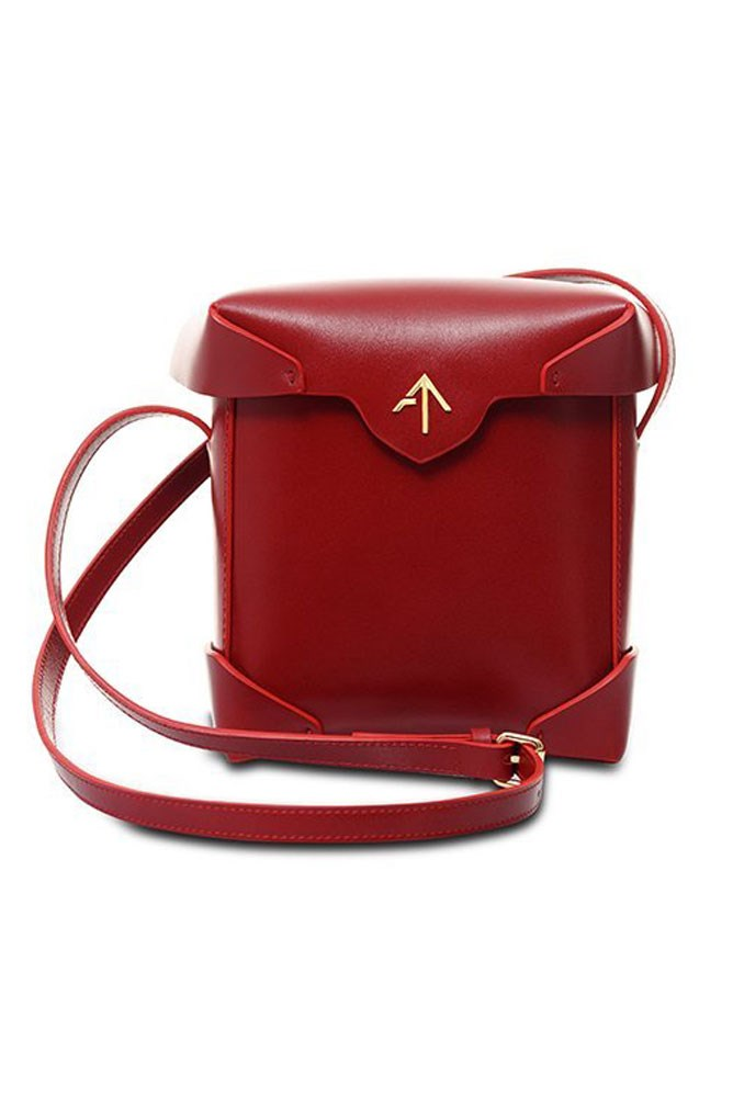 """<strong>Manu Atelier</strong><br> <a href=""""https://www.manuatelier.com/shop/mini-pristine-red/197.html"""">Bag, approx. $643, Manu Atelier</a>"""