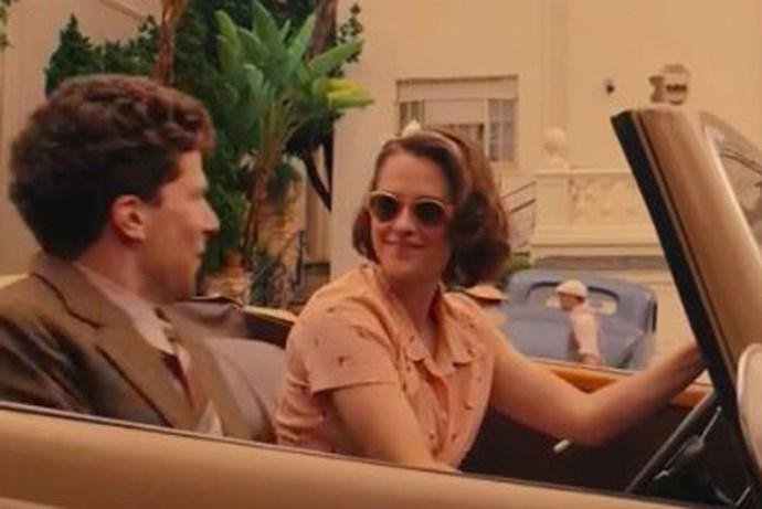 Kristen Stewart and Jesse Eisenberg in the upcoming Woody Allen flick, <em>Cafe Society</em>.