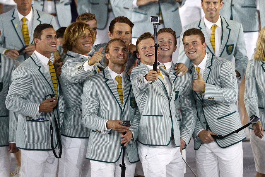 Olympians took a selfie (no shame in using a stick) at the opening ceremony.