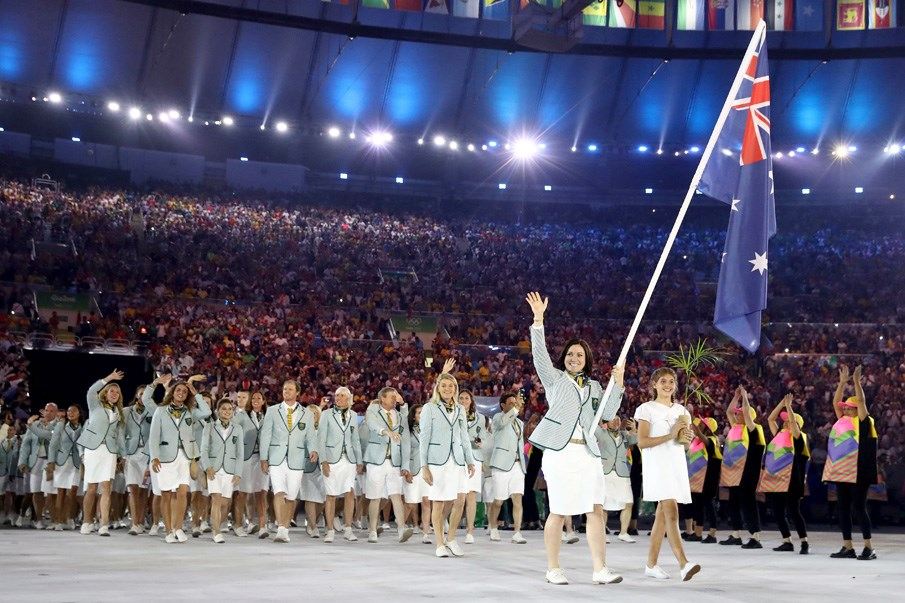 Cyclist Anna Meares proudly carried the flag for Australia at the opening ceremony.