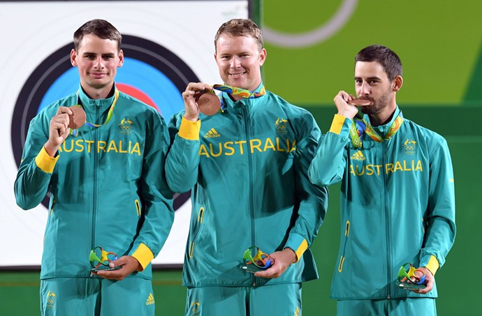 Alec Potts, Ryan Tyack and Taylor Worth won the bronze in archery.