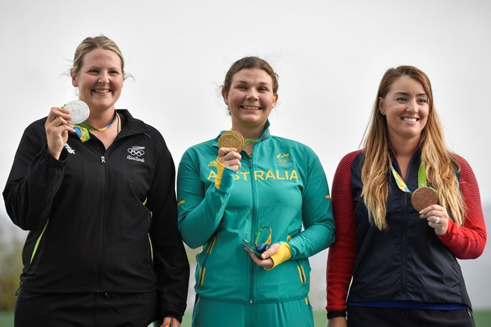 Catherine Skinner won gold in the women's trap event (shooting).