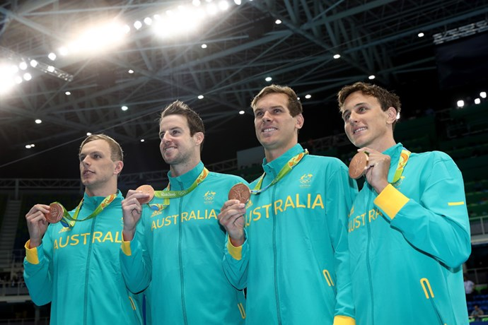 Kyle Chalmers, James Magnussen, James Roberts and Cameron McEvoy took home the bronze for the men's 4 x 100m freestyle relay.