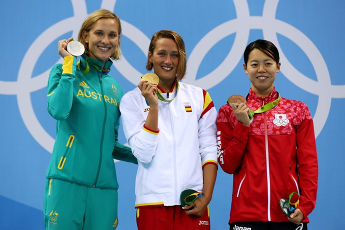 Madeline Groves posed with her silver medal after the women's 200m butterfly final.