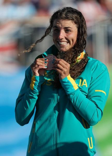 Jess Fox with her bronze medal for the women's K1 canoe slalom final.
