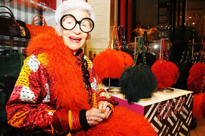 Iris Apfel's black-rimmed glasses.