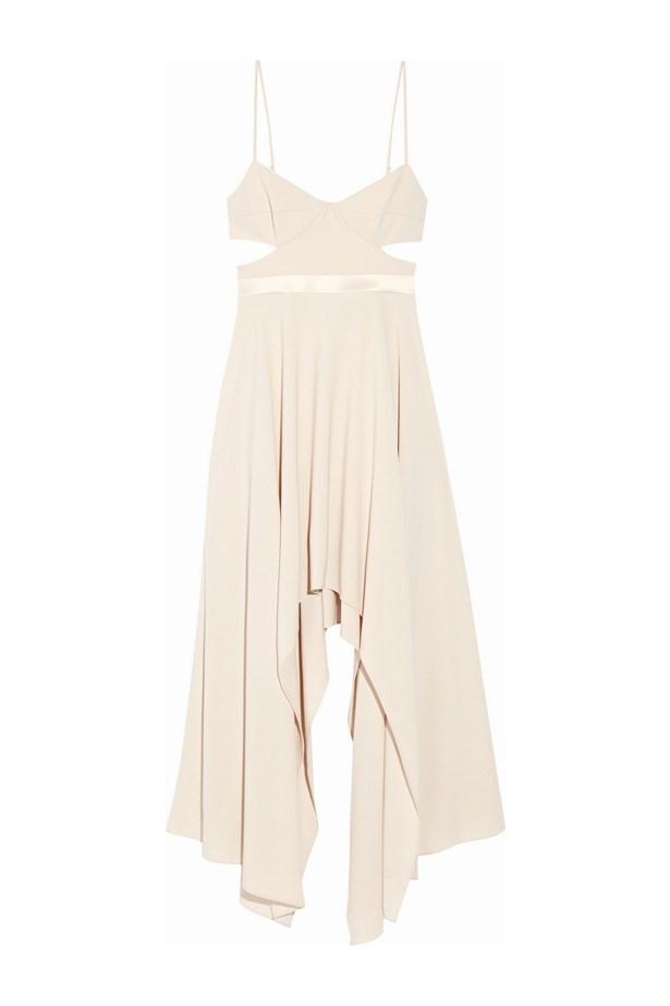 """Dress, $471, <a href=""""https://www.net-a-porter.com/au/en/product/716667/halston_heritage/cutout-satin-trimmed-stretch-crepe-dress"""">Halston Heritage at net-a-porter.com</a>."""