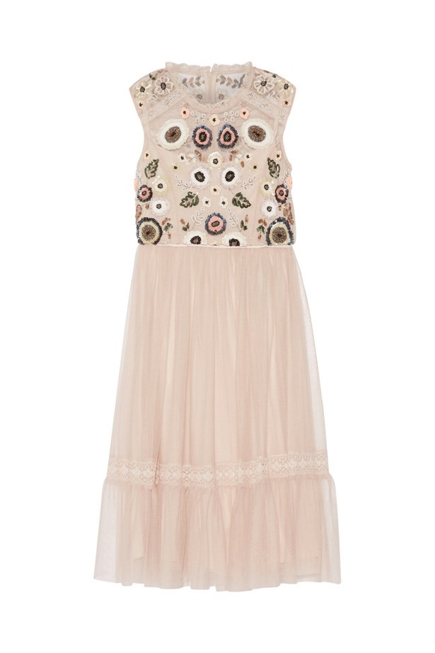 "Dress, $304, <a href=""https://www.net-a-porter.com/au/en/product/706044/needle___thread/embellished-lace-trimmed-tulle-dress"">Needle & Thread at net-a-porter.com</a>."
