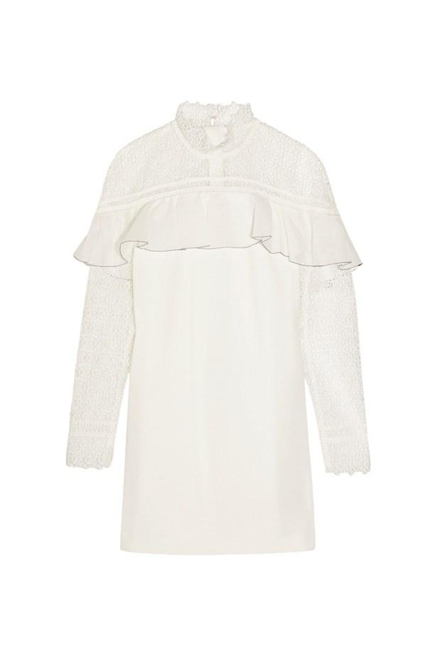 "Dress, $334, <a href=""https://www.net-a-porter.com/au/en/product/714100/self_portrait/ruffled-guipure-lace-and-crepe-mini-dress"">Self-Portrait at net-a-porter.com</a>."