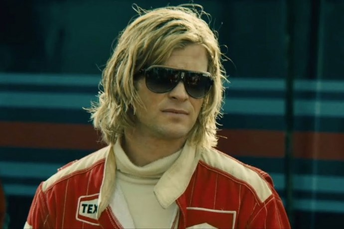<strong>James Hunt (in <em>Rush</em> (2013) and in real life)</strong><br> James Hunt was a gorgeous, blonde playboy F1 driver in the late '60s-'70s. However, when he was immortalised by the beautiful Chris Hemsworth in the film <em>Rush</em>, it opened his story to a whole new audience, and well, it's safe to say with Hemsworth in the driver's seat, his image is forever up there as one of the hottest racing-in-film characters today.