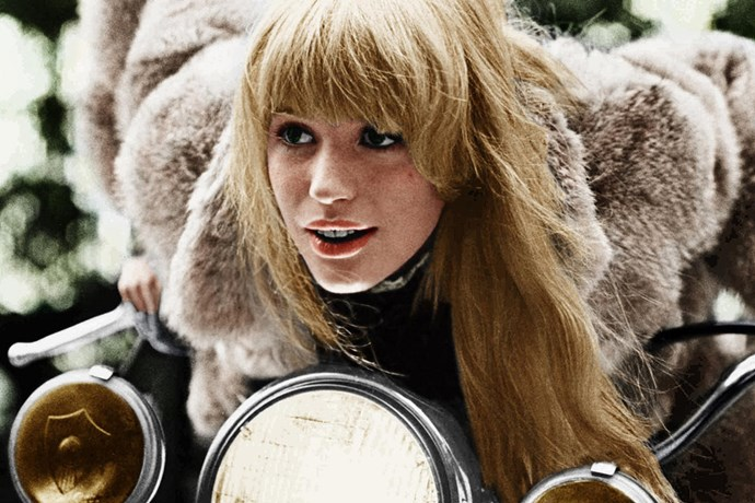 <strong>Rebecca, <em>The Girl On A Motorcycle</em> (1968)</strong><br> 1968 film <em>The Girl On A Motorcycle</em> is about a beautiful woman, Rebecca (played by Marianne Faithfull) who leaves her husband and takes off on her motorcycle to meet her lover. Clearly, a woman with a need for fast thrills. And that leather jumpsuit… damn.