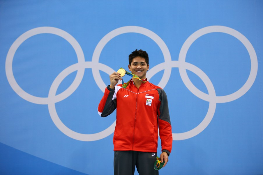 <p><strong>Singapore:</strong> Gold medal winners get $1 million Singapore dollars! Which is approx. $983,000 AUD. <p>Pictured: Joseph Schooling (Singapore's first ever gold medal-winning Olympian) after winning the 100m men's freestyle event.