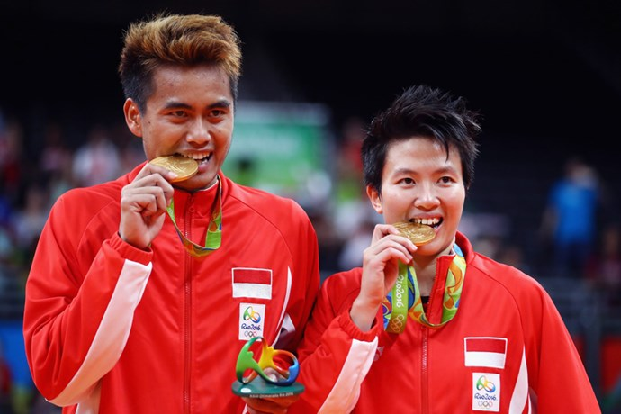 <p><strong>Indonesia:</strong> Approx. $500,000 AUD. <p>Pictured: Tontowi Ahmad and Liliyana Natsir after winning the badminton mixed doubles event.