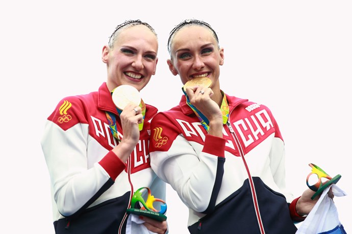 <p><strong>Russia:</strong> Approx. $80,000 AUD. <p>Pictured: Natalia Ishchenko and Svetlana Romashina after winning the synchronised swimming duets free routine final.