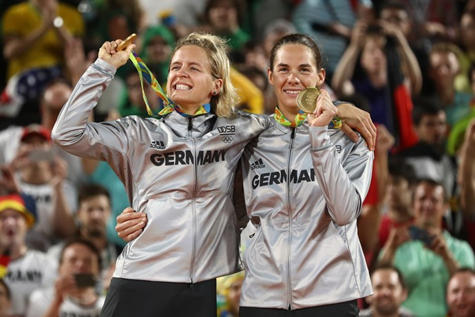 <p><strong>Germany:</strong> Approx. $26,000 AUD. <p>Pictured: Laura Ludwig and Kira Walkenhorst after winning the women's beach volleyball event.