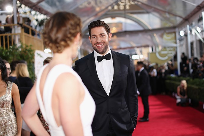 """<p>John got super buff for his role in <em>13 Hours: The Secret Soldiers of Benghazi</em>. Asked if Emily liked his ripped physique, he <a href=""""http://www.eonline.com/news/728514/john-krasinski-says-emily-blunt-hates-his-new-muscles-she-would-way-prefer-to-have-doughy-guy-back"""">told Stephen Colbert</a>, """"She hates it. She would way prefer to have doughy guy back."""" In that same interview, John said, """"I'm one of the luckiest guys in the world.""""</p>"""